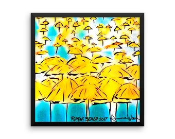 Rimini Beach  Italy - Framed photo paper poster. poster of beach. umbrellas. italy art. watercolor print. summer. travel. wanderlust.  10x10