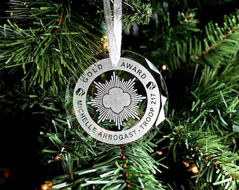 Custom Girl Scout Bronze, Silver, or Gold Crystal Ornament