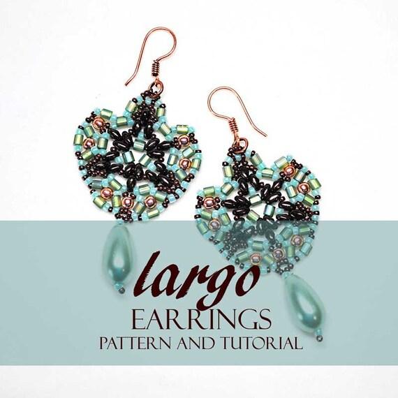 Beaded Earrings Pattern Tutorial Largo Featuring Mini Duo Etsy