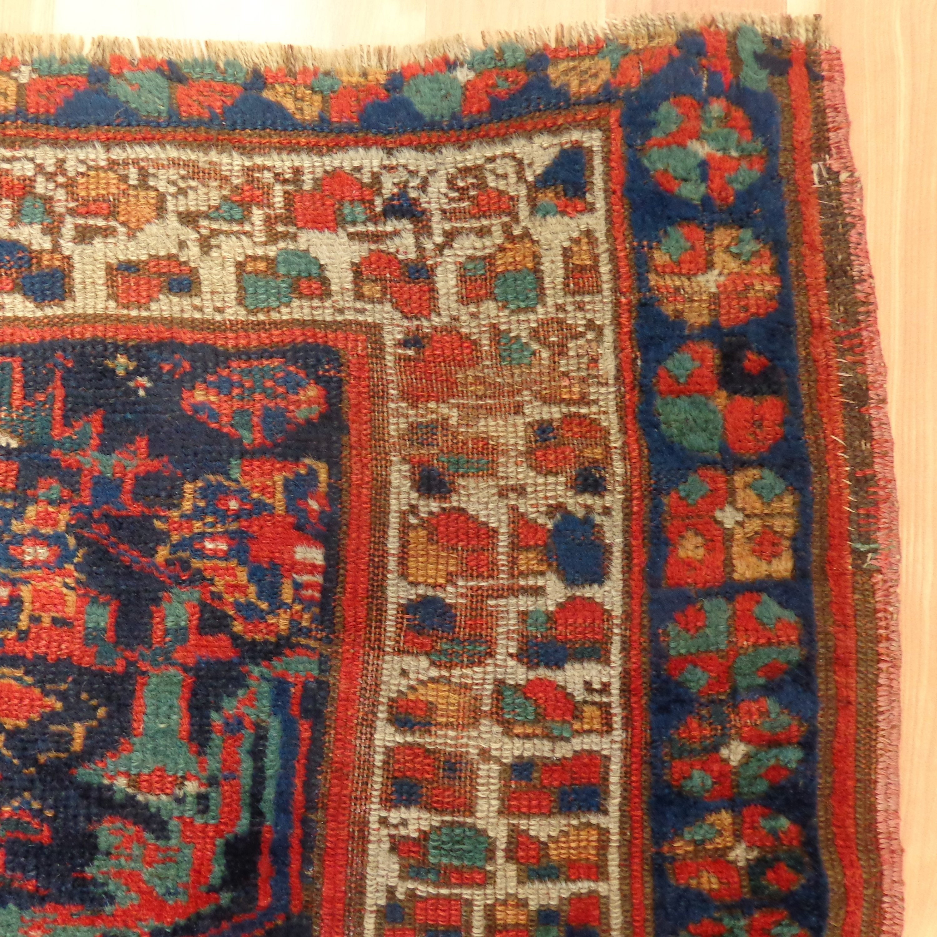 Antique Rug Blue Kurd Bidjar Wool Vintage Rug 4' X 7'