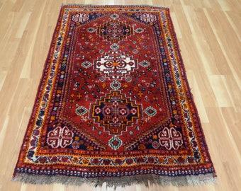 Vintage Vintage Rug 3' 7 x 5' 7 Red Shiraz Oriental Rug