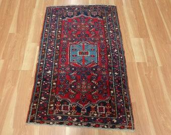 Vintage Rug Red Wool Oriental Rug 2' 8 x 4' 5 Hamedan