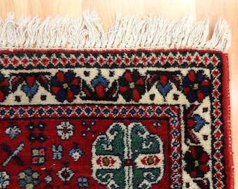 Handwoven Rug 3' 4 x 5' 3 Red Vintage Rug