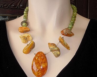 Fancy necklace with butterscotch amber and green jade