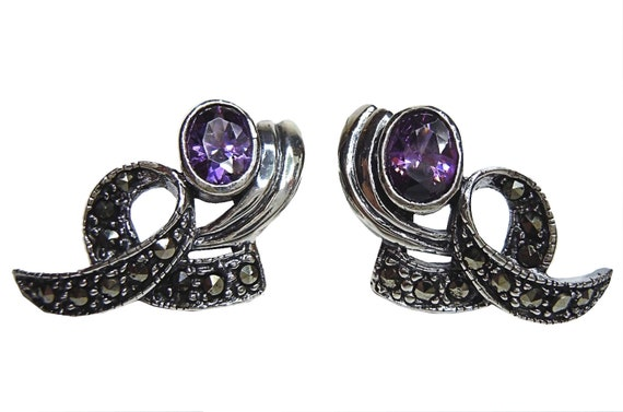 Amethyst Art Nouveau bow earrings m. marcasite