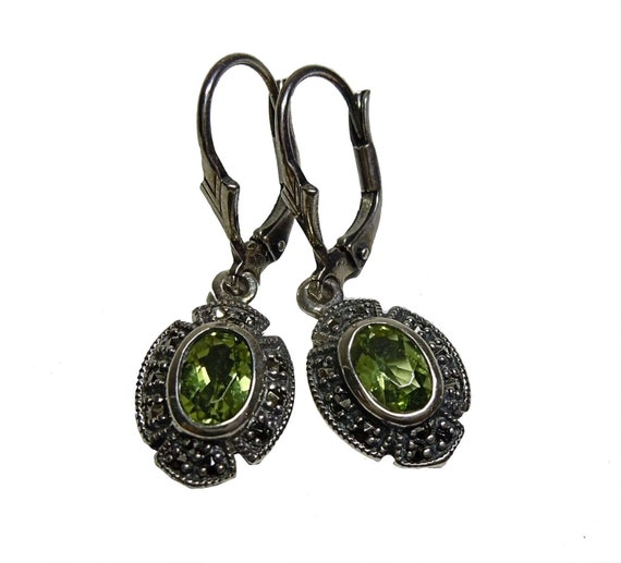 Peridot Art Nouveau pendant earrings with Markasit