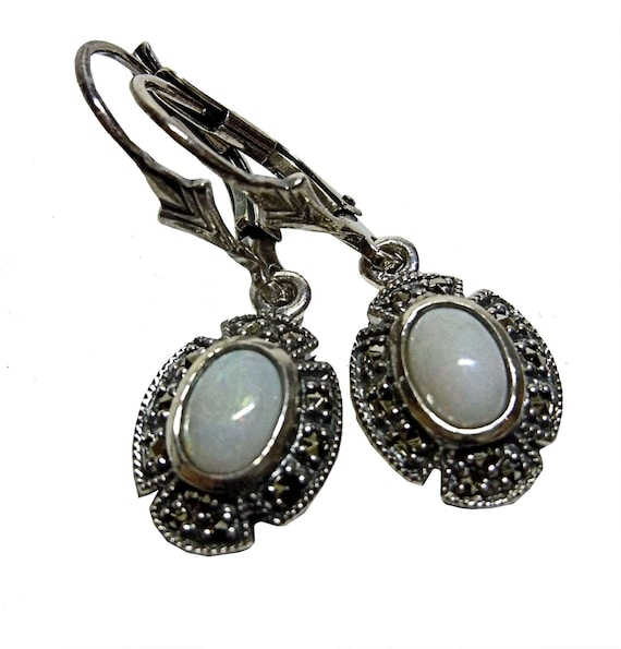 Opal Art Nouveau hanging earrings with markasites