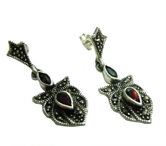 Garnet Art Nouveau earrings with marcasite