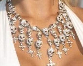 Gioachino Trentino brilliant Designer women Skull Collier necklace