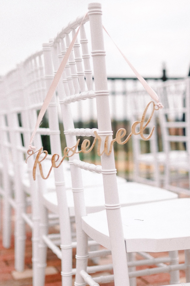 Reserved Sign cut out for chairs painted gold wood image 0