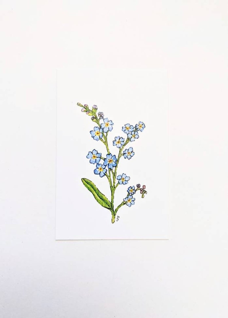 2x3 inch Mini Print of My Forget Me Nots Watercolor Painting