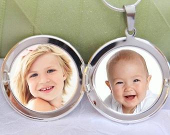Photo Locket Pendant - Personalized - Long Chain