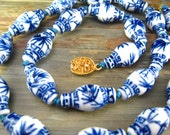 Rare Vintage Porcelain Chinese Asian Necklace Blue White Vase Shape Hand Painted LARGE Beads 25 quot Long Knotted Statement Necklace Hefty
