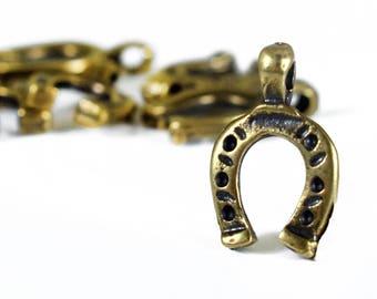 Antique Bronze Ηorseshoe Charm 20x13mm, Good Luck Horseshoe Charms, Choker Pendant, 5 pieces