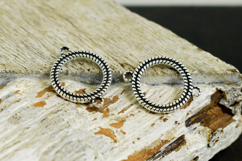 Circle Connector Bracelet Charms Antique Silver Round Connector 16mm for Macrame 4pcs Earrings Geometric Double Sided for Necklace