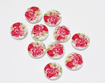 10 x 15mm red and pink roses wooden buttons.
