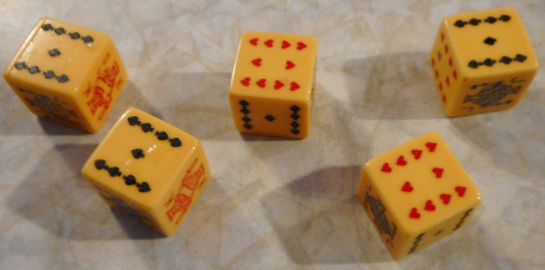 Circa 1940/'s Set of Five Vintage Bakelite Poker Dice in Plastic Snap Case