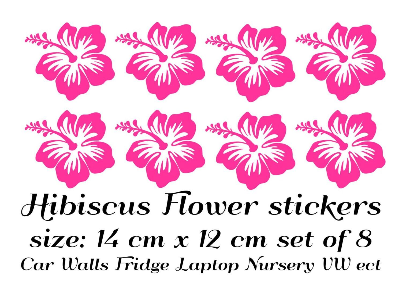 Hibiscus flower stickers set of 8 car nursery wall vw laptop etsy zoom izmirmasajfo