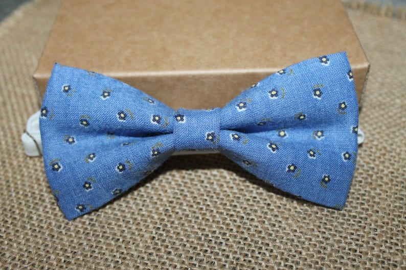Bow Ties Blue Floral Pre-Tied Bow Tie Lady Bow Tie Rustic Wedding Bow Tie Rustic Bow Tie Boys Bowties Party Bow Tie Matching Bow Tie