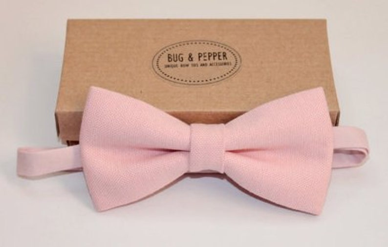 a457d443a85b Pale Pink Linen Bow Tie Light Pink Bow Tie Pink Child | Etsy
