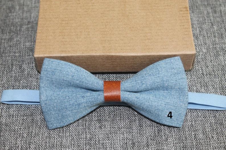Baby Bow Tie Denim Bow Tie Rustic Matching Bow Tie Mens Bow Tie Rustic Shabby Wedding Groom Vintage Classic Blue  Pre Tied Denim Bow Tie