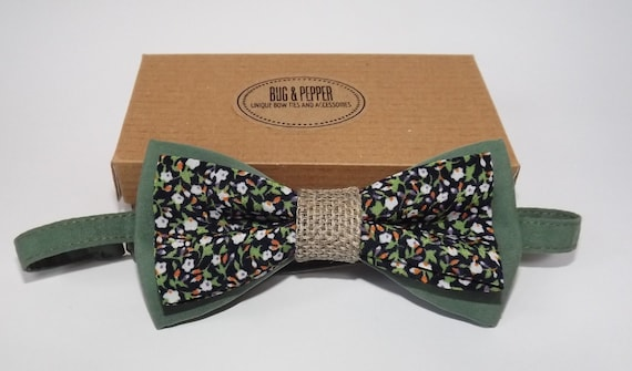 Womens Pre-Tied Bow Tie Rustic Wedding Bow Tie Mens Pre-Tied Bow Tie Vintage Bow Tie Pink and Green Floral Bow Tie