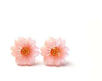 c9ab3d87add8ec Sakura Studs, Cherry Blossom Jewelry, Flower Earrings, Clay Studs, Dainty,  Pink, Floral Earrings, Sakura Jewelry, Bridal, Wedding, For Her