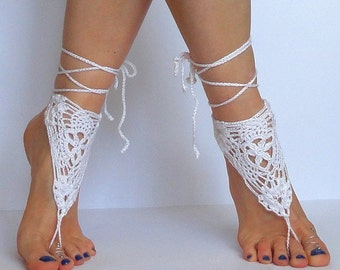 Crochet Barefoot Sandles, Foot jewelry, Wedding, Crochet Sandals, French Lace, White,  Ivory