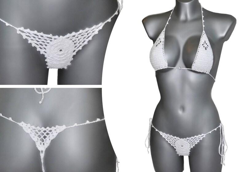 00ed60c1bb0ef Micro bikini Crochet Thong set White Black Turquoise Exotic