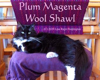 WIF PDF Plum Magenta Shawl weaving pattern handwoven instant digital download eight 8 shaft diamond twill