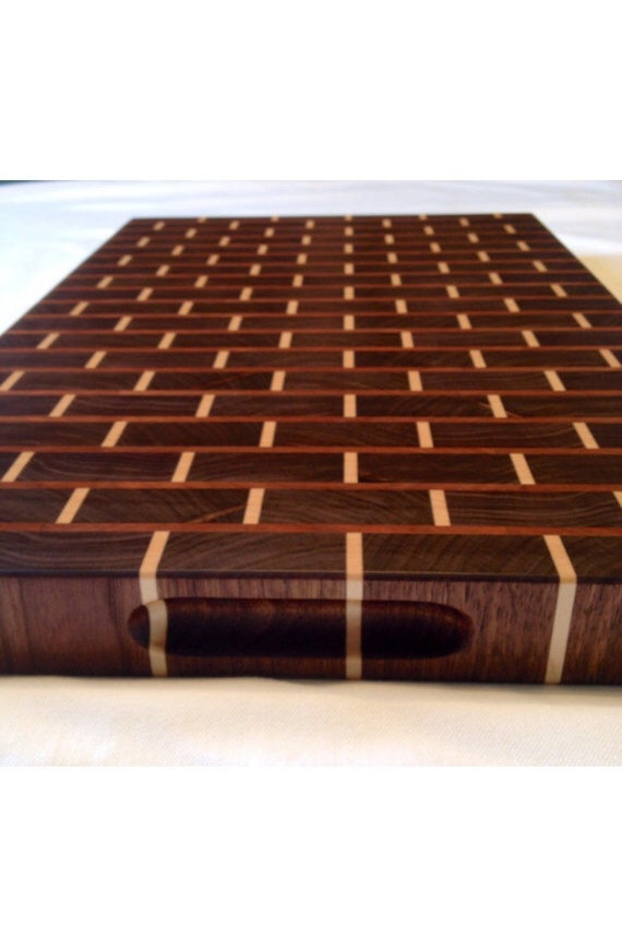 walnut brick style end grain cutting board etsy