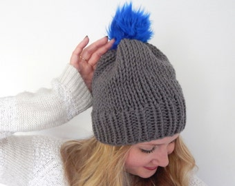 Ready to Ship Chunky Knit Hat - Slouchy Beanie Hat - Faux Fur Pompom Hat - Knitted Toque Beanie Hat - Gray with Blue Pompom