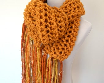 Chunky Knit Scarf - Giant Scarf - Open Ended Scarf - Wool Chunky Scarf - Extra Long Imported Fiber Fringe