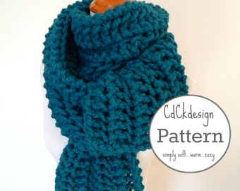 PATTERN Chunky Knit Scarf - Giant Scarf - Open Ended Scarf - Chunky Scarf - Beginners Pattern