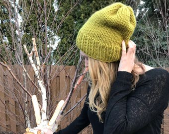 Chunky Knit Hat - Chunky Slouchy Hat - Wool Knit Hat // THE TILDA // Chunky Wool Knit Cap