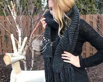 Chunky Knit Scarf - Giant Scarf - Open Ended Scarf - Chunky Knit Crochet Scarf - THE KODIAK - Extra Long Custom Colors Wool Blend