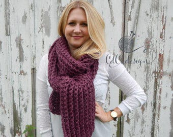 Chunky Knit Scarf - Crochet Scarf - Giant Scarf - Open Ended Scarf - Chunky Scarf - THE TUNDRA - Extra Long Wool Blend Custom Colors