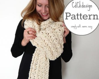 PATTERN Chunky Crochet Scarf - Giant Scarf - Open Ended Scarf - Chunky Scarf - THE BELLA - Beginners Pattern