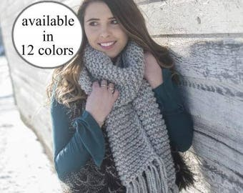 Chunky Knit Scarf - Giant Scarf - Open Ended Scarf - Chunky Scarf - THE KODIAK - Extra Long Custom Colors Wool Blend