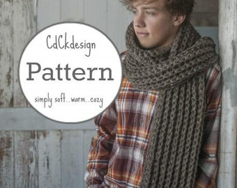 PATTERN Mens Chunky Crochet Scarf - Giant Scarf - Guys Open Ended Scarf - Chunky Scarf - Beginners Pattern