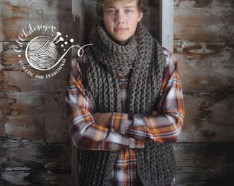Mens Chunky Knit Scarf - Giant Scarf - Open Ended Scarf - Guys Chunky Scarf - THE TUNDRA - Extra Long Wool Blend Custom Colors