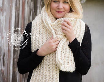 Chunky Knit Scarf - Giant Scarf - Open Ended Scarf - Chunky Scarf - THE TUNDRA - Extra Long Custom Colors Wool Blend