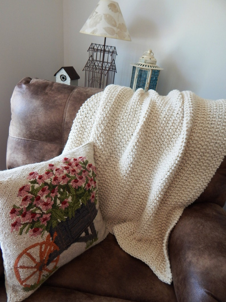 Knitting Pattern Chunky Knit Wool Blanket Throw Soft and ...