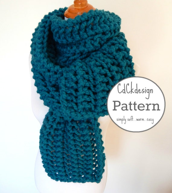 Pattern Chunky Knit Scarf Giant Scarf Open Ended Scarf