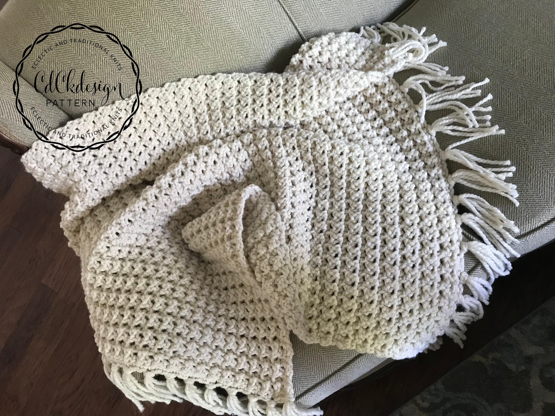 CROCHET PATTERN // Chunky Crochet Blanket - Crochet Blanket Pattern - Bulky  Yarn - Throw - Pattern // Customizable Crochet Pattern