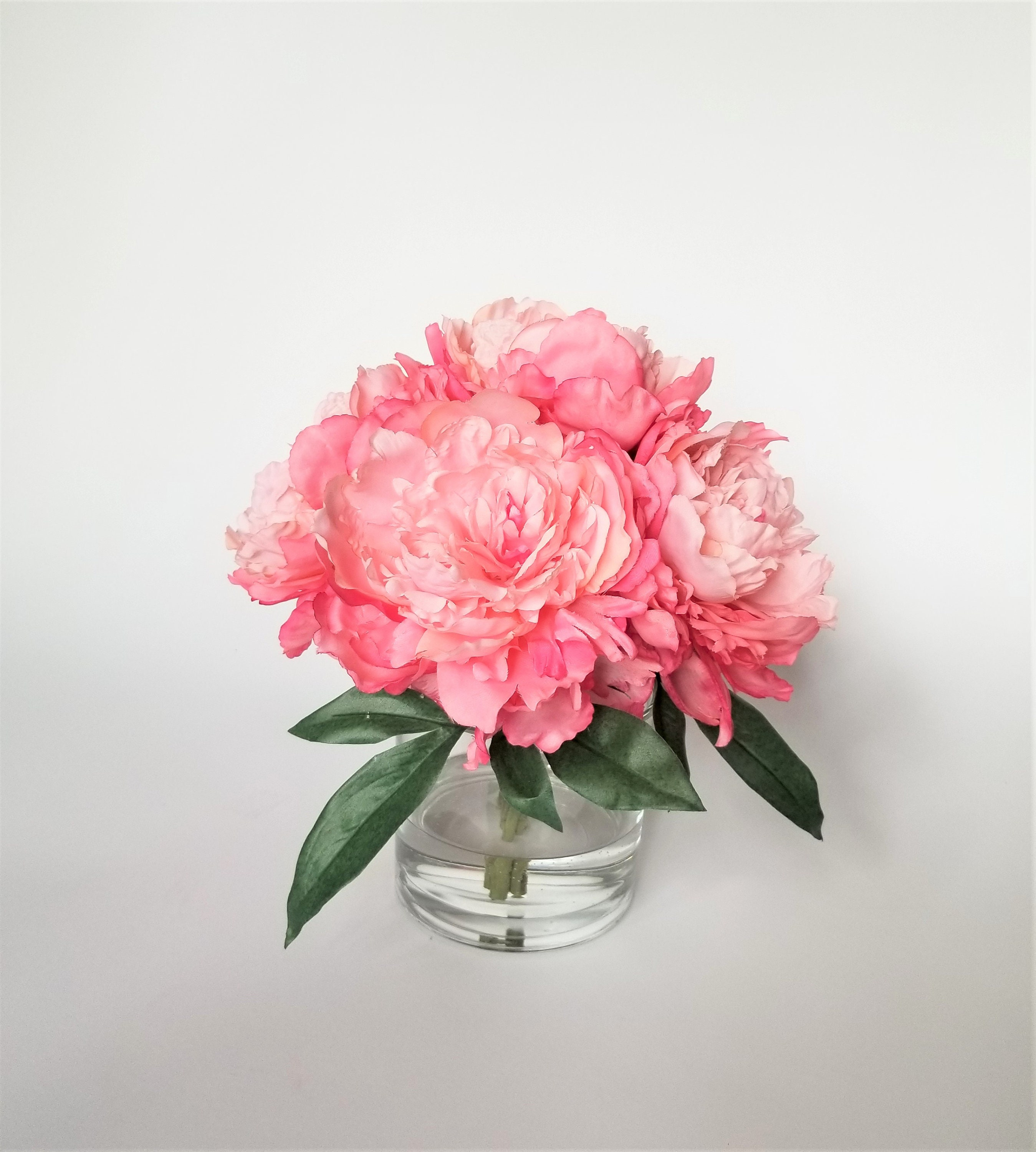 Large Pink Peonies In A Round Glass Vase Handmade Home Decor Etsy