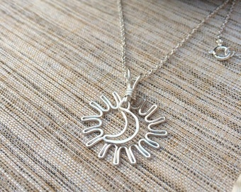 Sun and Moon necklace/Silver universe pendant/SMS Inspired Necklace/Smith magenis syndrome inspired necklace on a sterling silver chain
