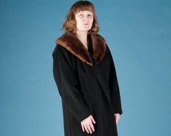 Wool Overcoat with Fur Collar
