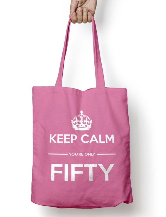 keep calm you 39 re only fifty gift tote shopping bag etsy. Black Bedroom Furniture Sets. Home Design Ideas