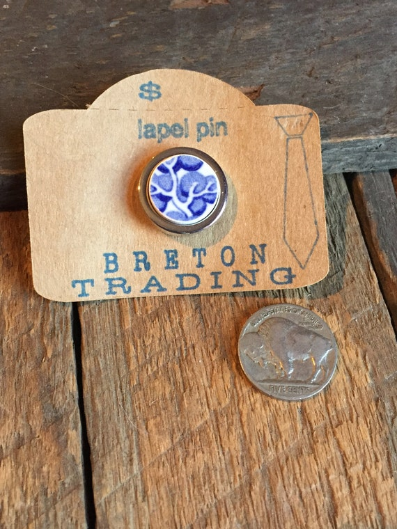 Historic Charleston Broken China Lapel Pin Blue China floral pattern gold colored tie tack One of a Kind Artifact Jewelry OOAK Mens